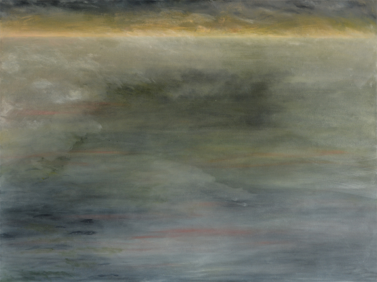 This 2014 oil painting by the artist Smokie Kittner shows a shrouded nebulous environment with a narrow band of light defining the horizon