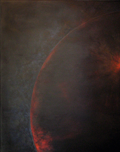 This image is of a large oil by Smokie Kittner.  In it the edge of a dark sphere punctuated by red elements hangs in a void
