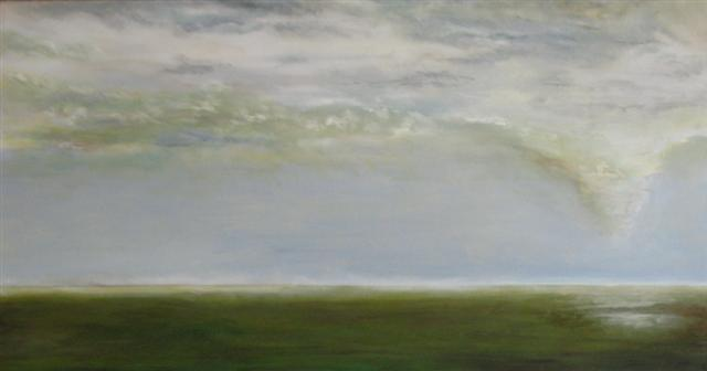 A large oil painting on canvas depicting a flat plain in the summer over which a white cloud takes the form of a tornado
