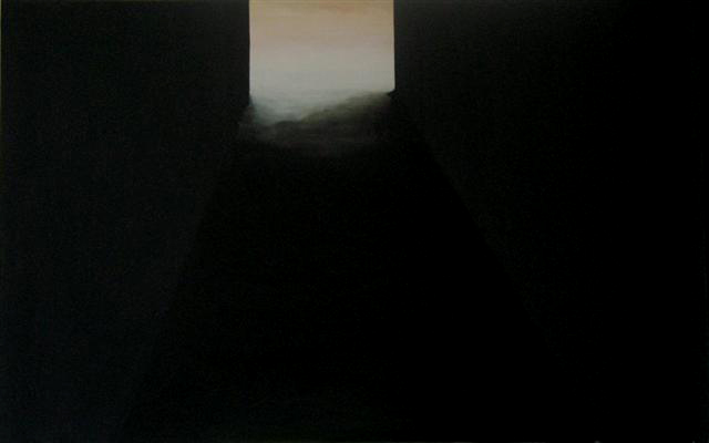 This image is of a large oil painting by artist Smokie Kittner that combines architectonic and landscape elements to create a work that evokes a sense of mystery.   The eye is lead down a dark passage to the center top of the painting where an atmospheric light spills from a source hidden from the viewer.
